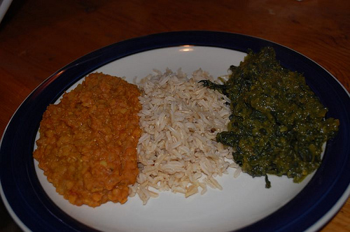 like to serve red lentil dal with brown rice and saag.
