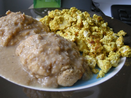 vegan biscuits and gravy with tofu scramble