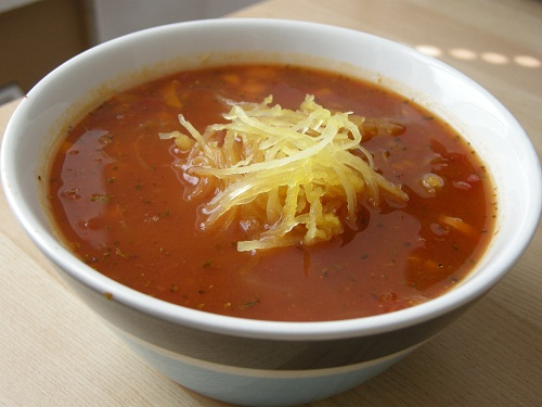 tomato soup with spaghetti squash