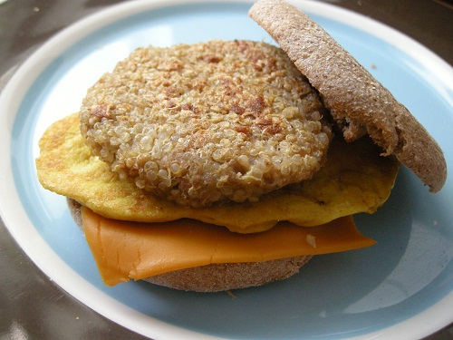 quinoa and gimme lean sausage patty