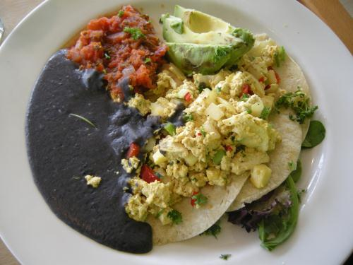 vegan huevuos rancheros at red lentil dal boston