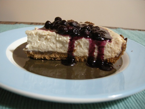 cheesecake with blueberries on top