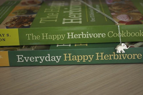 image of spine of both Happy Herbivore cookbooks
