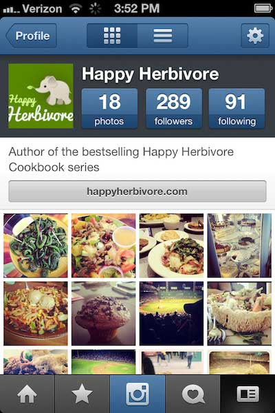 screen shot of the Happy Herbivore instagram