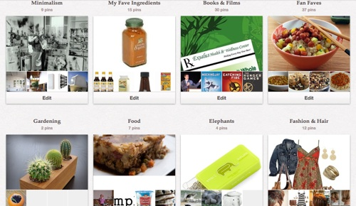 screen image of the pinterest boards of Happy Herbivore