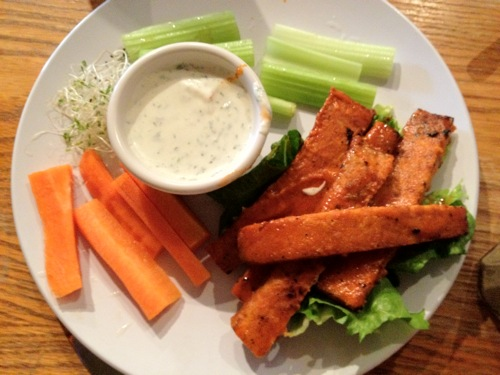 vegan tempeh buffalo strip appitizer